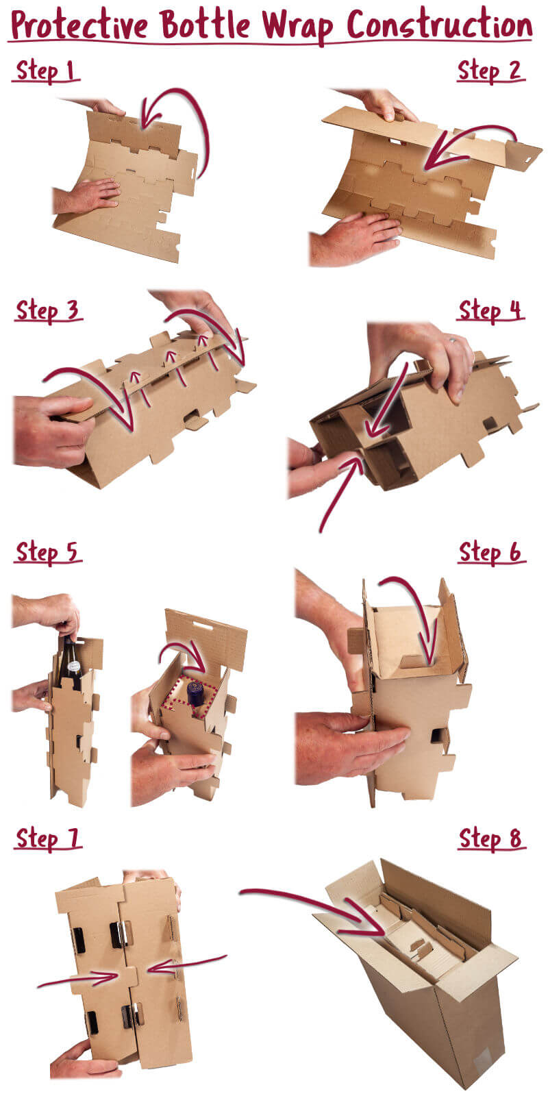 Visual Instructions on how to fold the included protective bottle wrap inserts