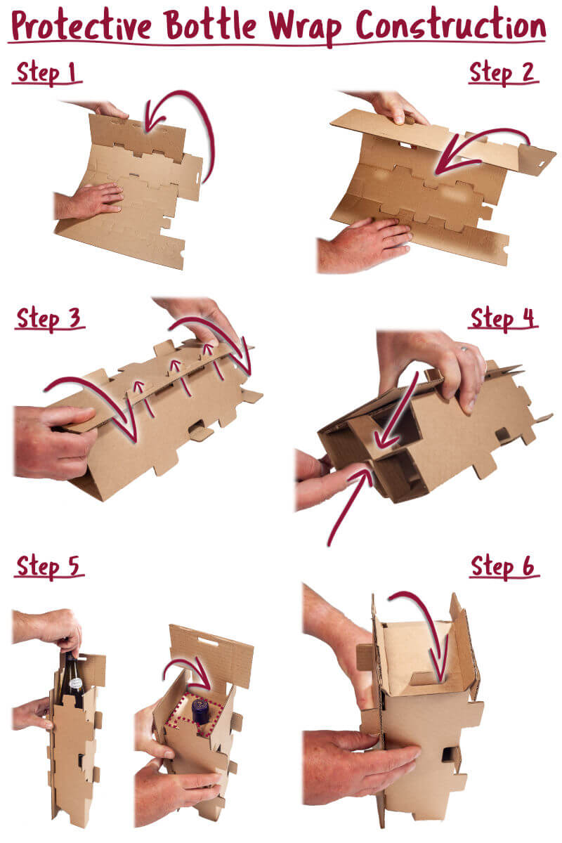 Visual Instructions on how to fold the included protective bottle wrap insert