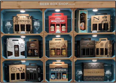 Beer Box Shop displays branded beer packaging at BeerX 2019