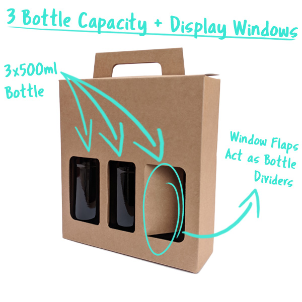 3 Bottle Capacity with Window Flaps that divide the cans