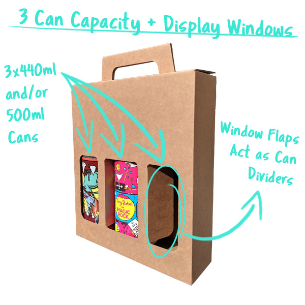 3 Can Capacity with Window Flaps that divide the cans