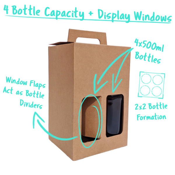 4 Bottle Capacity with Window Flaps that divide the Bottles