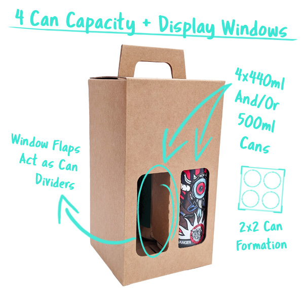 4 Can Capacity with Window Flaps that divide the cans