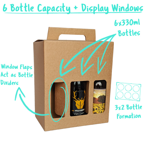 6 Bottle Capacity with Window Flaps that divide the Bottles
