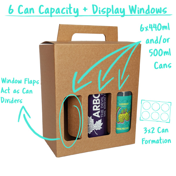 6 Can Capacity with Window Flaps that divide the cans