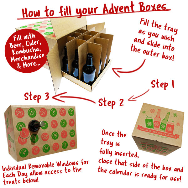 Each Advent Calendar consists of an outer box, a tray and pop up dividers