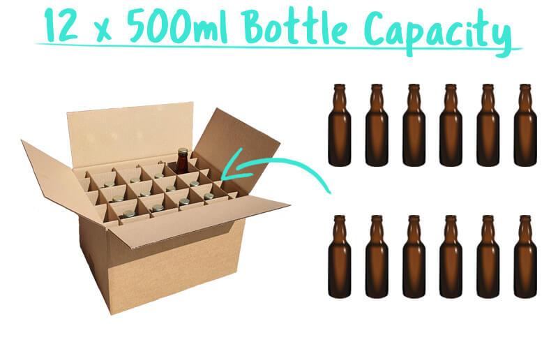 12 x 500ml Beer Bottle Premium Trade Box Capacity