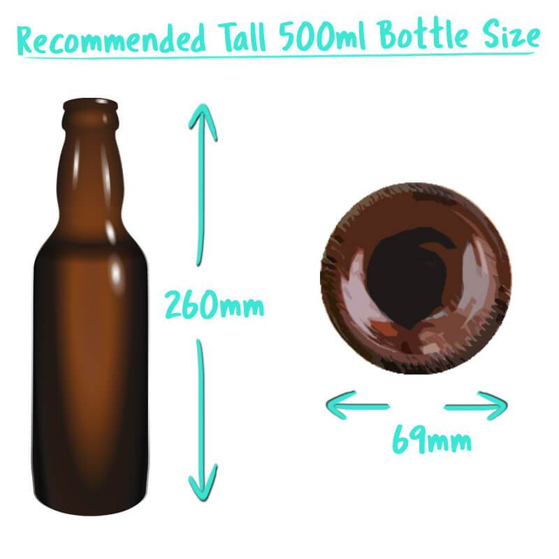 500ml Tall Beer Bottle Trade Box Size